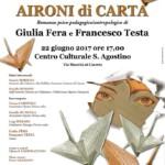 """Giulia Fera e Francesco Testa presentano a Caserta """"Aironi di carta"""""""